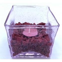 Rožinio stiklo-vazelė žvakidė